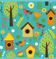 seamless pattern with houses for birds vector image