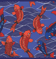 seamless pattern with koi carps and waves on a vector image vector image