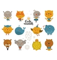 set cartoon animals vector image vector image