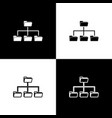 set folder tree icons isolated on black and white vector image vector image