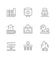 set line icons heating vector image vector image