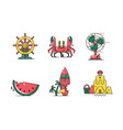 set of nautical marine line color iconmarine vector image vector image