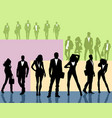 silhouettes of young people groups vector image vector image