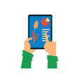 smart farming app - hands holding tablet with vector image vector image