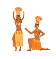 smiling cartoon aboriginal man and woman dancing vector image vector image
