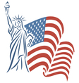 Statue of liberty and usa flag vector | Price: 1 Credit (USD $1)