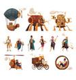 steampunk cartoon set vector image vector image