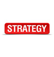 strategy red 3d square button isolated on white vector image