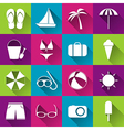 Summer beach flat icons collection of white icons vector image vector image