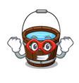 super hero wooden bucket character cartoon vector image vector image