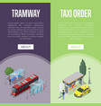 taxi and tramway station isometric 3d posters vector image
