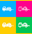 tow car evacuation sign four styles of icon on vector image