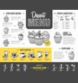 vintage dessert menu design fast food menu vector image vector image