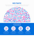 web traffic concept in half circle vector image vector image