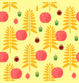 wheat and apple seamless autumn pattern vector image vector image