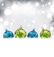 Winter Background with Colorful Glass Balls and vector image