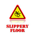 yellow warning slippery floor icon background vect vector image