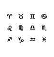 zodiac sign set icons isolated on white vector image