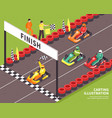 carting race finish background vector image