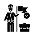 accomplished business mission icon vect vector image vector image