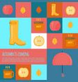 autumn stuff icons in flat style vector image vector image