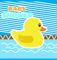 baby shower card with a rubber duck vector image vector image