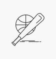 baseball basket ball game fun line icon isolated vector image vector image