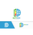 battery and planet logo combination energy vector image