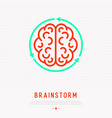 brainstorm thin line icon brain in arrows vector image