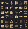 business department icons set simple style vector image vector image