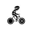 child riding a bike black icon sign on vector image vector image