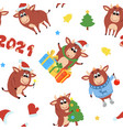 chinese new year cute ox 2021 zodiac vector image