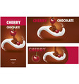 chocolate packaging with cherry vector image vector image