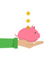 coin depositing in a money piggy bank on human vector image vector image