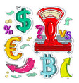 colorful sticker scales money signs and arrow vector image vector image