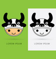 cow hat on smile child head vector image vector image