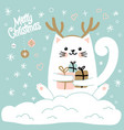 cute cat with a hat with deer horns christmas vector image