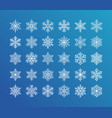 cute snowflakes collection isolated white on blue vector image