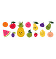 doodle fruits cartoon funny characters berries vector image vector image