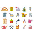 farm tools icon set cartoon style vector image