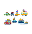 Flat set of colorful vehicles with luggage