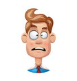 funny cute cartoon man sad smiley vector image