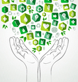 Green splash hands design vector image