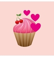 heart cartoon pink cupcake sweet cherry icon vector image