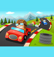 kids in a car racing vector image