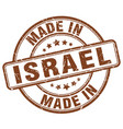 made in israel brown grunge round stamp vector image vector image
