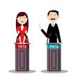 man and woman candidates with lecterns and vote vector image vector image