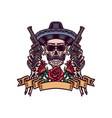 mexican skull with guns vector image vector image