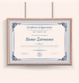 official blue guilloche border for certificate vector image vector image