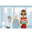People are waiting for the elevator vector image vector image